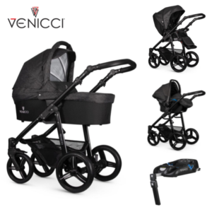 Venicci Soft 3 in 1 Travel System Denim Black/Black Chassis- 11 piece bundle