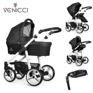 Venicci Soft 3 in 1 Travel System Denim Black/White Chassis- 11 piece bundle