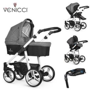 Venicci Soft 3 in 1 Travel System Denim Grey/White Chassis- 11 piece bundle