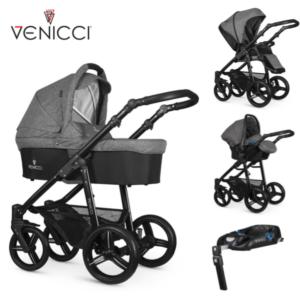 Venicci Soft 3 in 1 Travel System Denim Grey / Black Chassis- 11 piece bundle