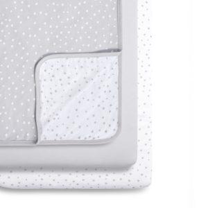 Snuz 3 Piece Crib Bedding Set - Grey Spots