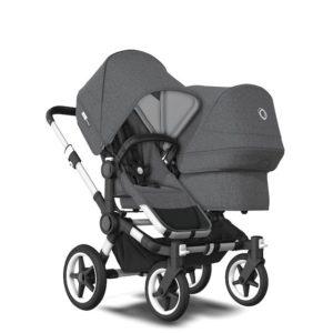 Bugaboo Donkey 3 Duo Stroller Alu Chassis - Grey Fabrics Grey Melange Canopy