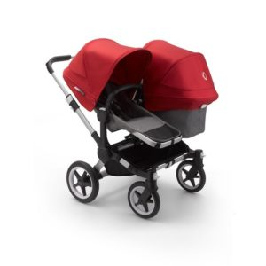 Bugaboo Donkey 3 Duo Stroller Alu Chassis - Grey Fabrics Red Canopy