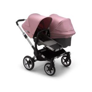 Bugaboo Donkey 3 Duo Stroller Alu Chassis - Grey Fabrics Soft Pink Canopy