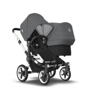 Bugaboo Donkey 3 Duo Stroller Alu Chassis - Black Fabrics Grey Melange Canopy