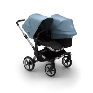 Bugaboo Donkey 3 Duo Stroller Alu Chassis - Black Fabrics Vapor Blue Canopy