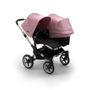 Bugaboo Donkey 3 Duo Stroller Alu Chassis - Black Fabrics Soft Pink Canopy