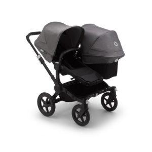 Bugaboo Donkey 3 Duo Stroller Black Chassis - Black Fabrics Grey Melange Canopy