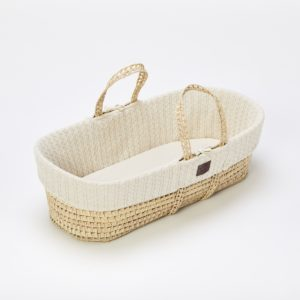 Little Green Sheep Natural Knitted Moses Basket with Mattress - Linen
