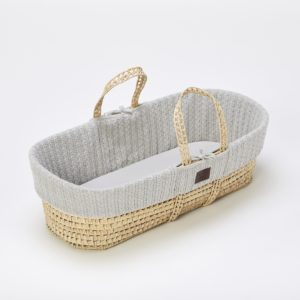 Little Green Sheep Natural Knitted Moses Basket with Mattress - Dove