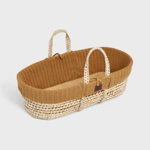 Little Green Sheep Natural Knitted Moses Basket with Mattress - Honey