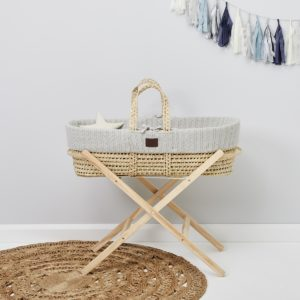 Little Green Sheep Natural Knitted Moses Basket with Mattress & Moses Basket Stand - Dove