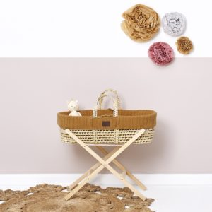 Little Green Sheep Natural Knitted Moses Basket with Mattress & Moses Basket Stand - Honey
