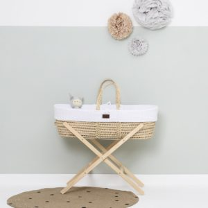Little Green Sheep Natural Knitted Moses Basket with Mattress & Moses Basket Stand - White