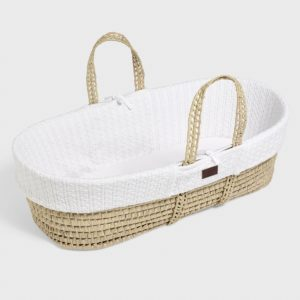 Little Green Sheep Natural Knitted Moses Basket with Mattress - White
