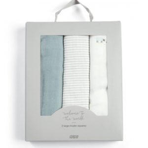M&P Welcome To the World Farm 3 Pack of Muslin Squares - Blue & White