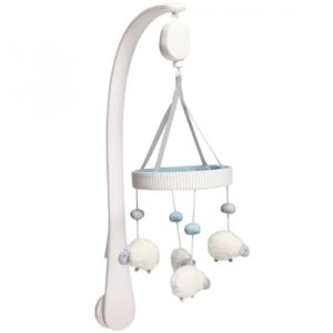 M&P Welcome To the World Farm Sheep Musical Cot/ Cotbed Mobile - Blue & White