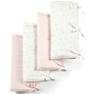 M&P Welcome To the World Floral Cot Bar Covers 4 Pack - Floral & Pink