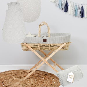 Little Green Sheep Knitted Moses Basket Bundle - Dove