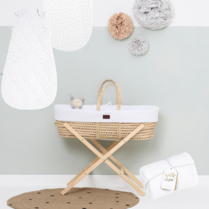 Little Green Sheep Knitted Moses Basket Bundle - White