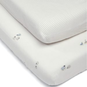 M&P Welcome To the World Farm Collection 2 Pack Fitted Sheets - White & Grey