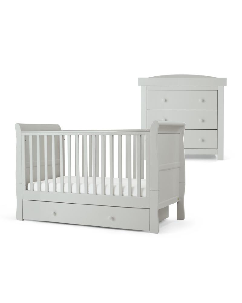 Mamas & Papas Mia 2 Piece Cotbed & Dresser Set - Cool Grey