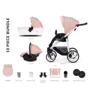 Venicci Pure2 Rose - 10 Piece Travel System Bundle