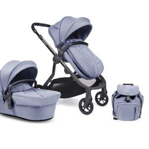iCandy Orange Pushchair & Carrycot Bundle - Mist Blue Marl