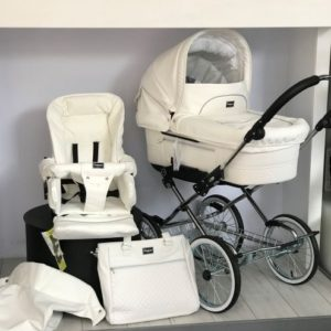 """Emmaljunga Mondial Pram Deluxe Chrome Chassis With 14"""" Wheels - White Leatherette (Ex-Display)"""